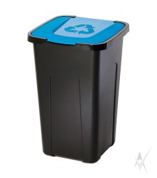 Šiukšliadėžė,plastikas, mėlynos spalvos dangtis, 50 litrų