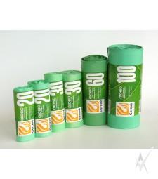Maišai šiukšlėms, dėžeje, pagaminti  iš HDPE su Oxo-bio priedu. Žalios spalvos. Biologiškai suyrantys per 180 dienų