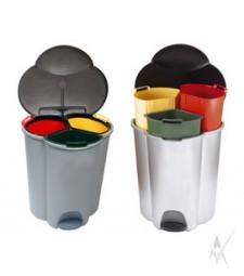 Šiukšliadėžė Trio .Plastmasė, trys skirtingos spalvos ir talpos, baltos spalvos. Dvi talpos 17 litrų,viena 6 litrų. Su pedalu. Svoris 1,74 kg.
