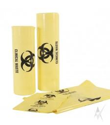 Maišai medicininėms atliekoms, 100 litrų,10 vnt. ritinėlyje su holograma, geltonos spalvos, pagaminta iš LDPE, 200 vnt. dėžėje. Matmenys 70 x 100 cm, storis - 40 mikronų